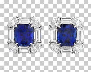 Sapphire Earring Carat Diamond Cut Jewellery PNG