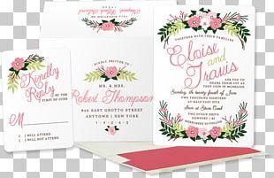 Floral Design Wedding Invitation Pink M PNG