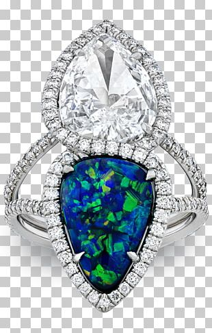 Opal Engagement Ring Diamond Wedding Ring PNG