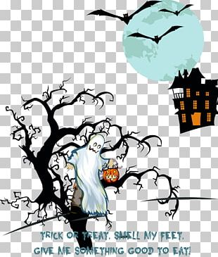 Haunted Castle Halloween Ghost Party Illustration PNG