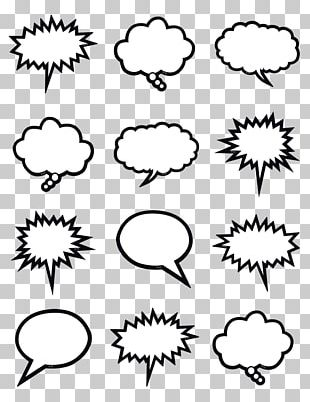 Speech Balloon Black And White Line Art Thought PNG