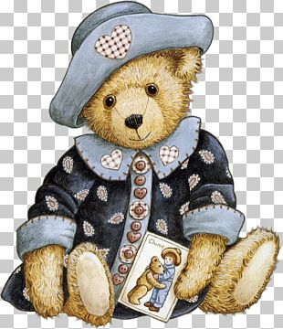 Teddy Bear Paper Decoupage Drawing PNG