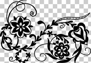 Black And White Flower Art Drawing Floral Design PNG