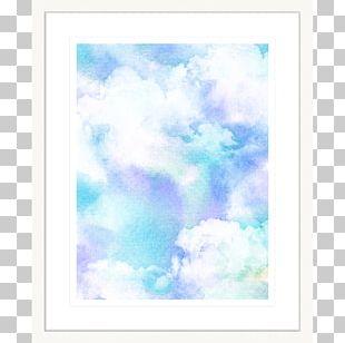 Cloud Frames Watercolor Painting Blue PNG