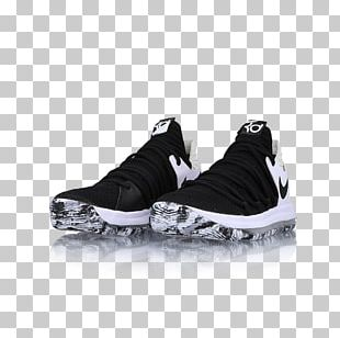 Sports Shoes Nike KD 10 Black White Basketball Shoe PNG