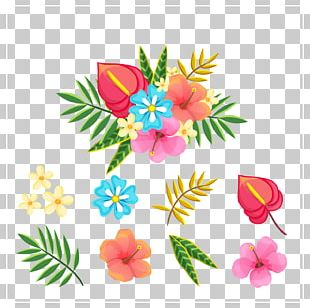 Tropical Flower And Leaf PNG