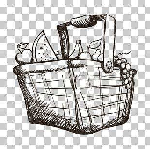 Basket Of Fruit Drawing PNG