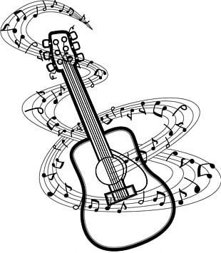 Musical Note Guitar Drawing PNG