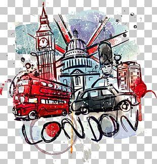 Big Ben Bus London Landmark Wall Decal PNG