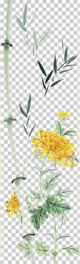 Chrysanthemum Bamboo Chinese Painting Leaf PNG