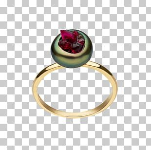 Ruby Ring Jewellery Gemstone Tahitian Pearl PNG