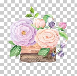 Garden Roses Watercolor Painting Wooden Box Crate Illustration PNG