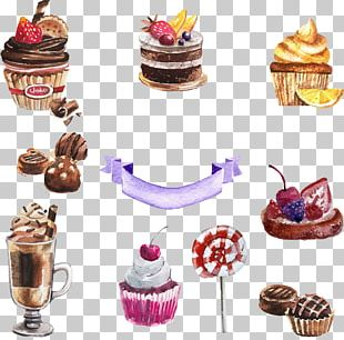 Cupcake Torte Dessert Watercolor Painting PNG