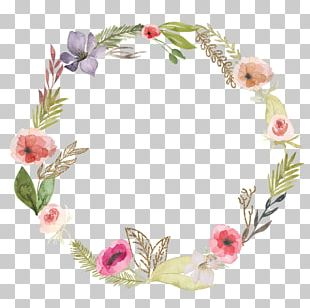 Flower Wreath Headband Pink Crown PNG