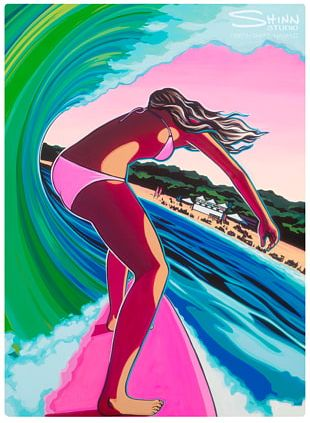 Oahu Surf Art Surfing Painting PNG