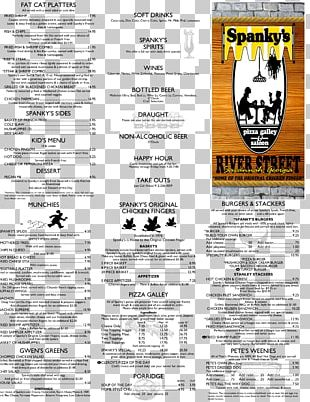 Spanky's Pizza Galley & Saloon Bar East River Street Menu Paper PNG