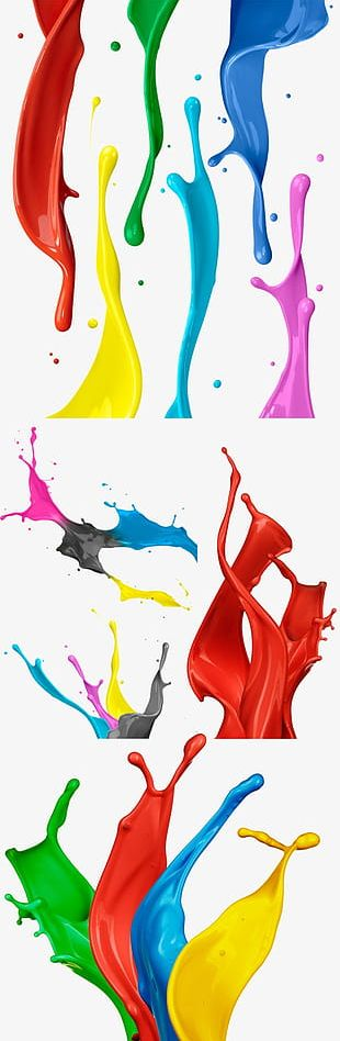 5 Kinds Of Color Paint Splashes PNG
