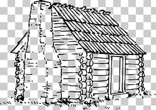 Drawing Log Cabin House Building PNG