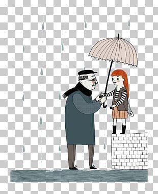 Cartoon Human Behavior Umbrella Illustration PNG