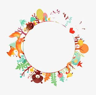 Forest Animal Watercolor Round Background PNG