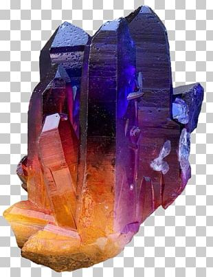Metal-coated Crystal Quartz Crystal Cluster Mineral PNG