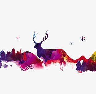 Christmas Reindeer Color Elements PNG