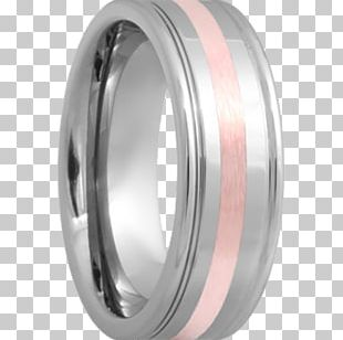 Wedding Ring Tungsten Carbide Gold Inlay PNG