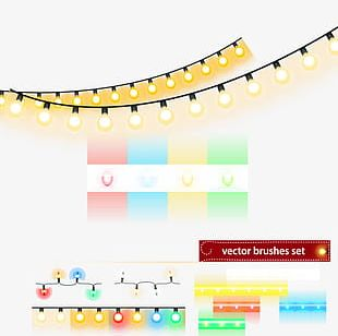 Christmas Lights String Design Material PNG