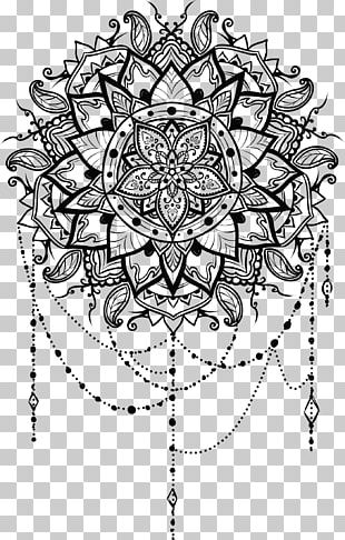 Line Art Mandala Drawing Ornament PNG