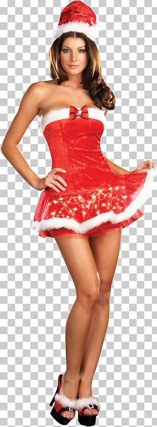 Santa Claus Mrs. Claus Santa Suit Christmas Strapless Dress PNG