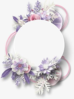 Flowers Decorative Circular Border Lemon PNG