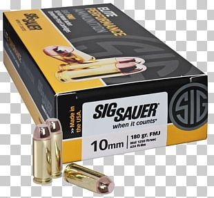 Full Metal Jacket Bullet 10mm Auto SIG Sauer Ammunition PNG