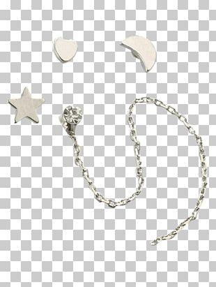 Earring Silver Chain Jewellery Rhinestone PNG