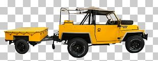 Yellow Jeep With Cart PNG