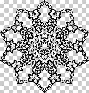 Floral Design Ornament Line Art PNG