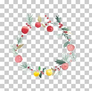 Christmas Watercolor Painting Wreath Flower PNG