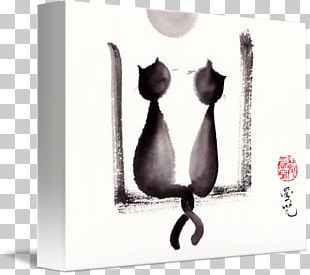 Ink Wash Painting Drawing Black Cat Art PNG