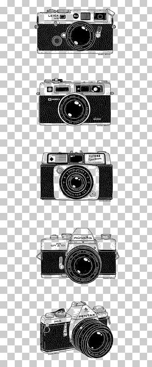 Camera Lens Drawing Photography Black And White PNG
