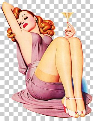 Pin-up Girl Champagne Poster Drink Printing PNG