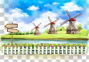 Windmill Cartoon Illustration PNG