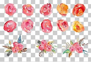 Flower Bouquet Garden Roses Watercolor Painting PNG