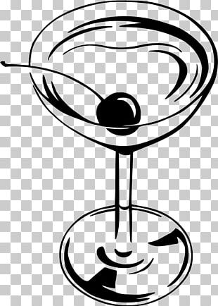 Champagne Glass Martini Cocktail Black And White PNG