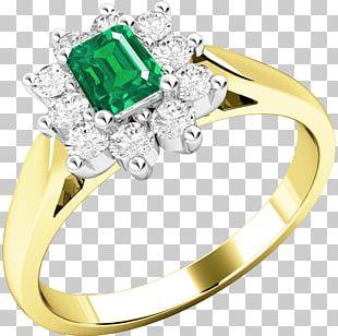 Emerald Ring Yellow Diamond Brilliant PNG