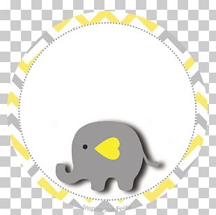 Baby Shower Yellow Elephant Grey Party PNG