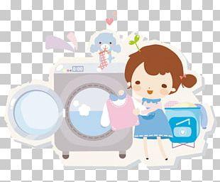 Laundry Cartoon Washing Machine PNG