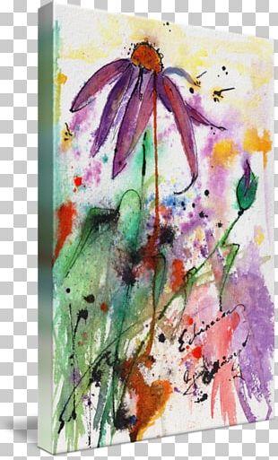 Watercolor Painting Floral Design Canvas Print PNG