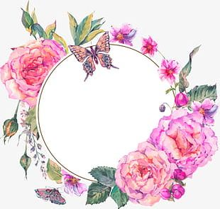 Pink Hand-painted Flowers Decorative Border Texture PNG