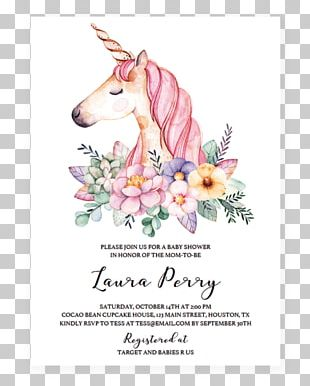 Unicorn Flower Watercolor Painting Canvas Poster PNG