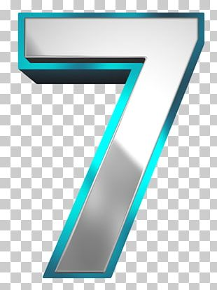 Metallic And Blue Number Seven PNG