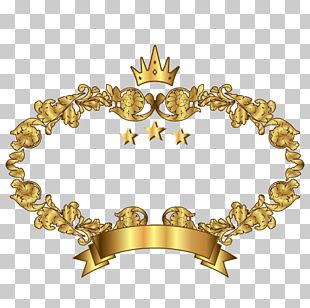 Gold Crown Decorated Frame PNG